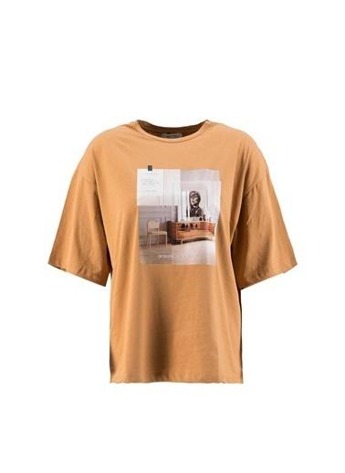Setre Ekru Kısa Kol Baskılı T-Shirt Kahve